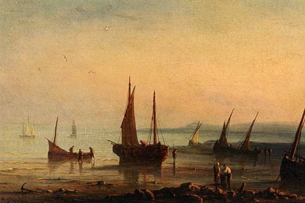Henriette Fishermen By The Shore At Sunset